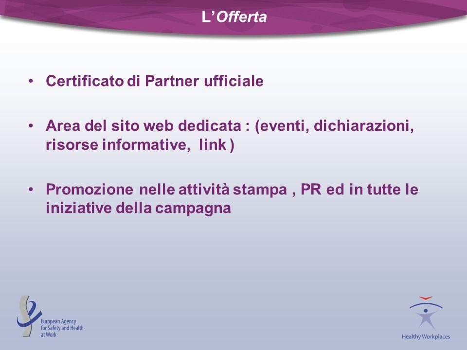 L'OffertaCertificato di Partner ufficiale. Area del sito web dedicata : (eventi, dichiarazioni, risorse informative, link )
