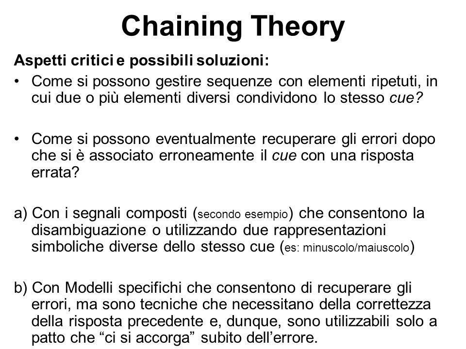 Chaining Theory Aspetti critici e possibili soluzioni: