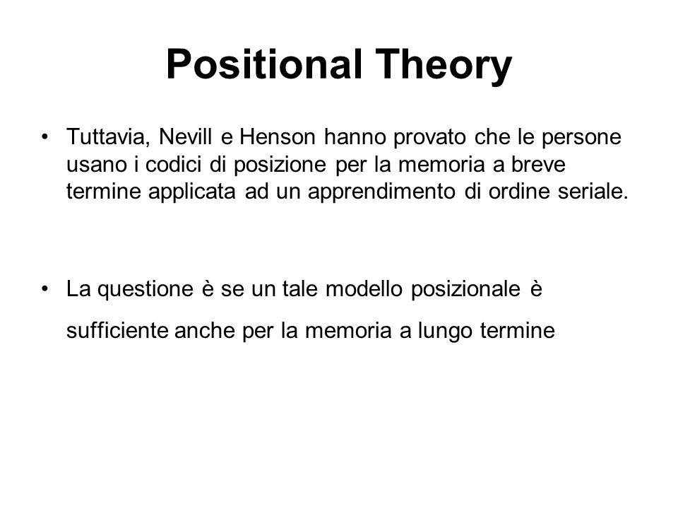 Positional Theory