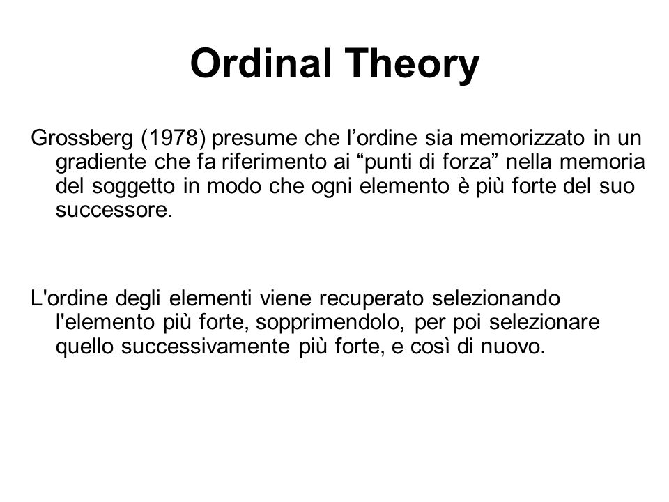 Ordinal Theory