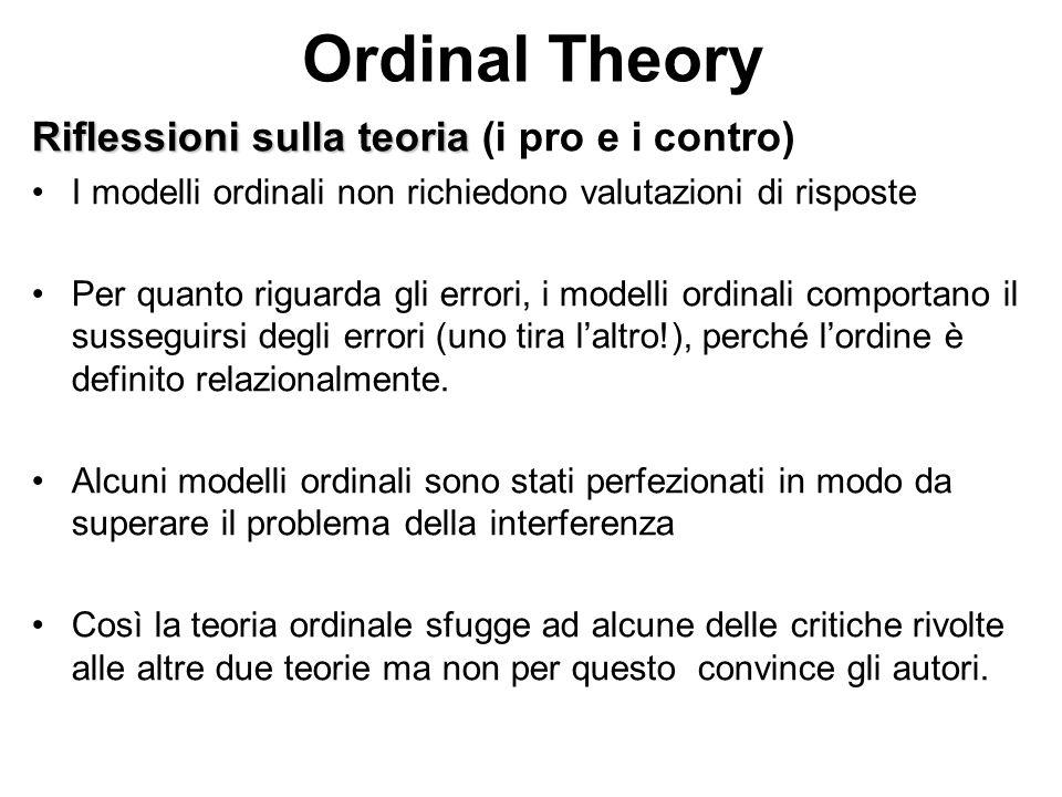 Ordinal Theory Riflessioni sulla teoria (i pro e i contro)