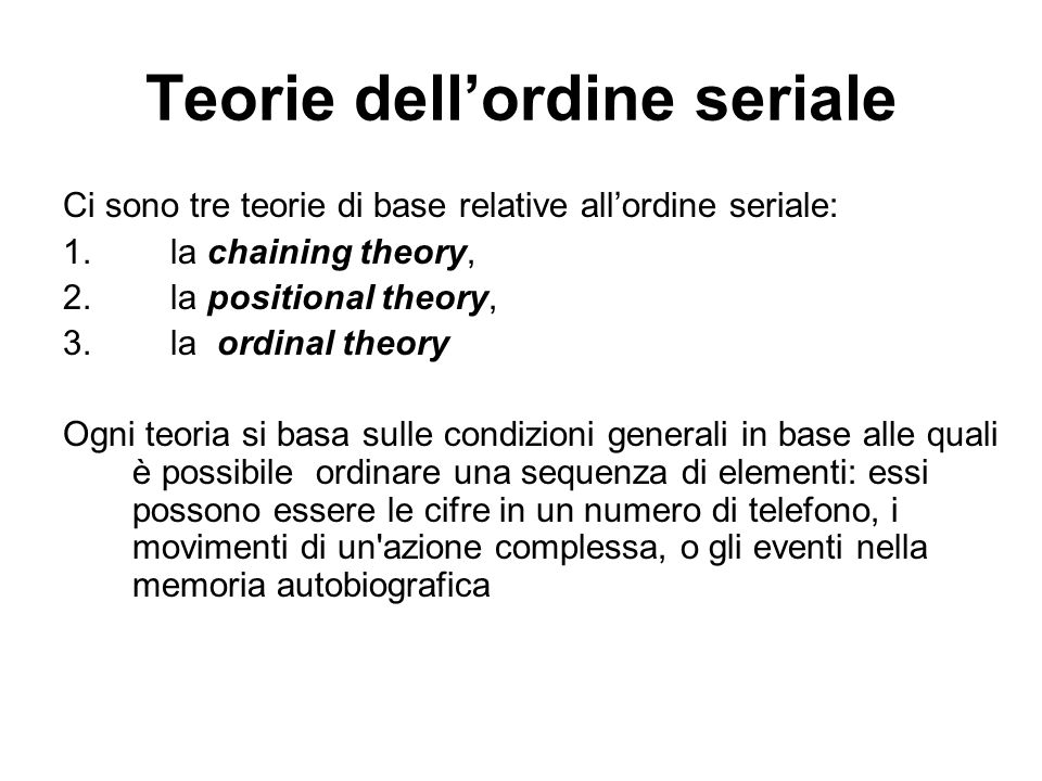 Teorie dell'ordine seriale
