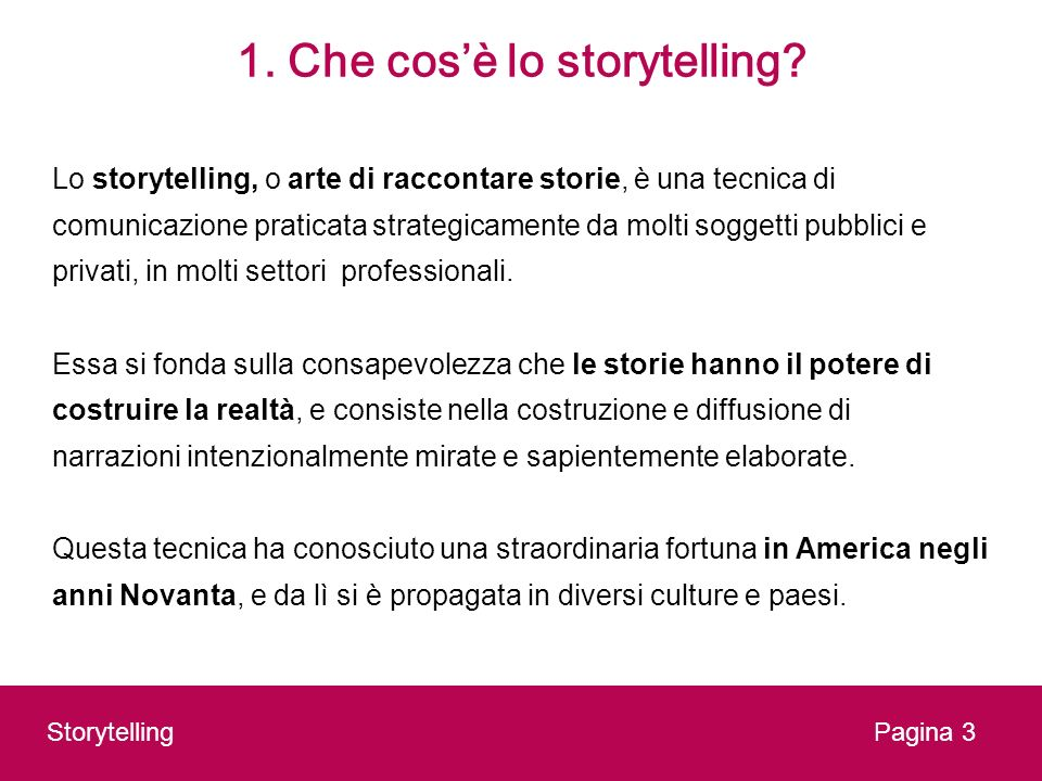 1. Che cos'è lo storytelling