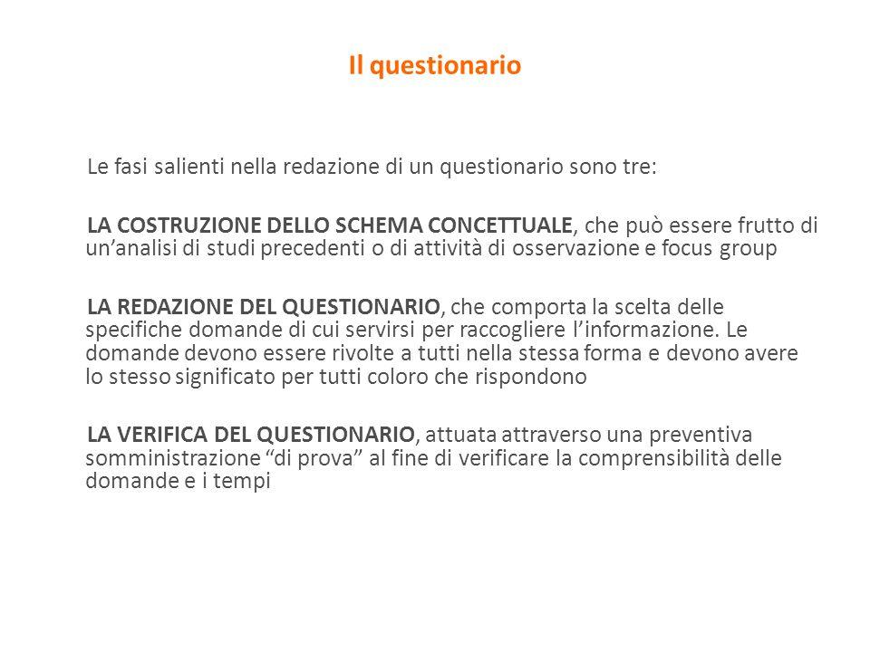 Il questionario Le fasi salienti nella redazione di un questionario sono tre: