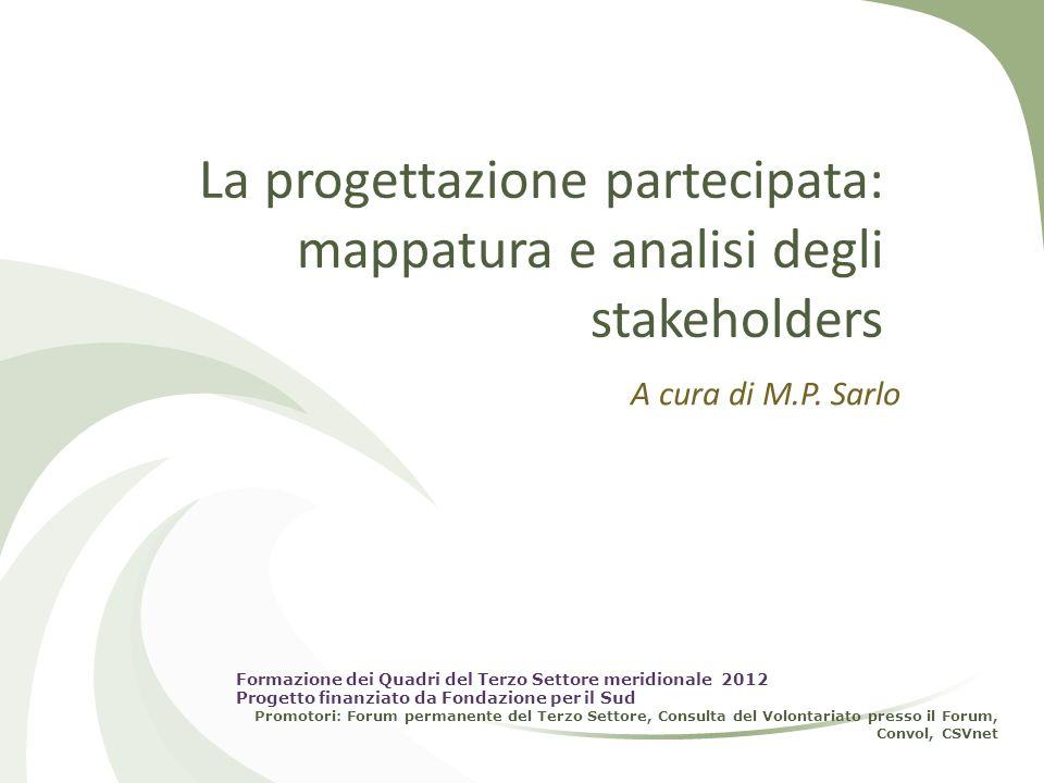 La progettazione partecipata: mappatura e analisi degli stakeholders