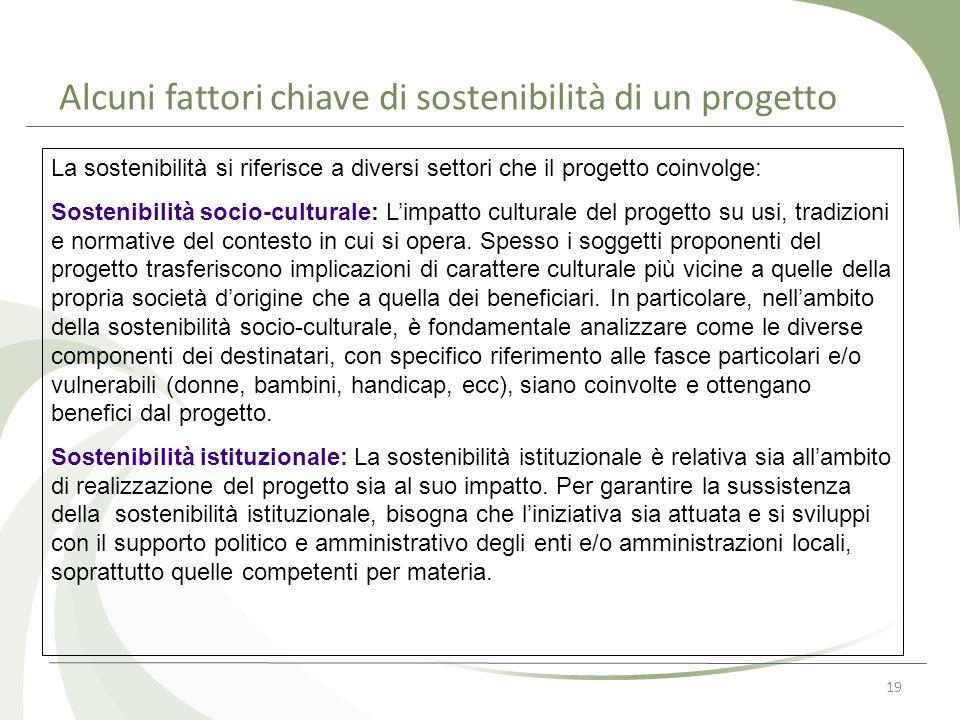 Alcuni fattori chiave di sostenibilità di un progetto