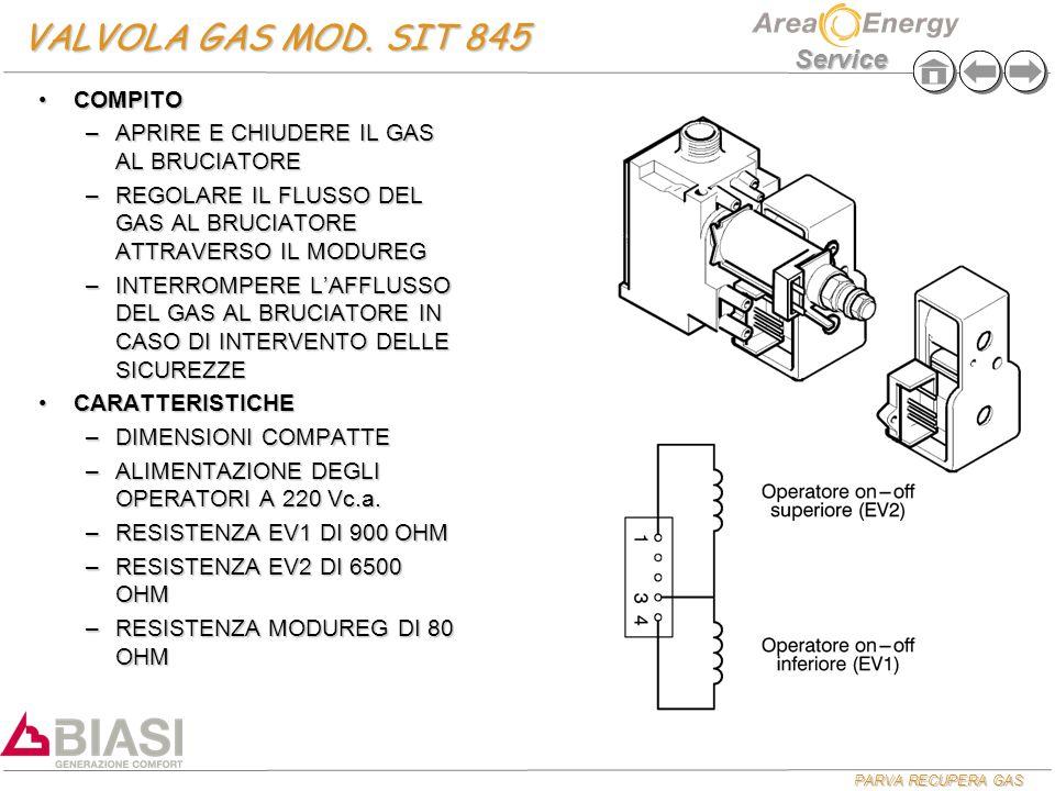 VALVOLA GAS MOD. SIT 845 COMPITO