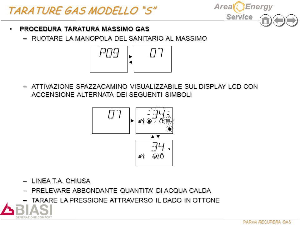 TARATURE GAS MODELLO S