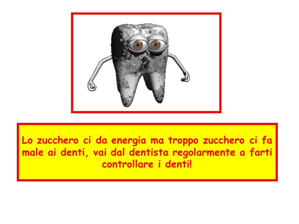 Lo zucchero ci da energia ma troppo zucchero ci fa male ai denti, vai dal dentista regolarmente a farti controllare i denti!
