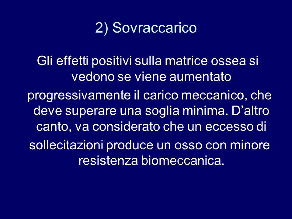 2) Sovraccarico Gli effetti positivi sulla matrice ossea si vedono se viene aumentato.
