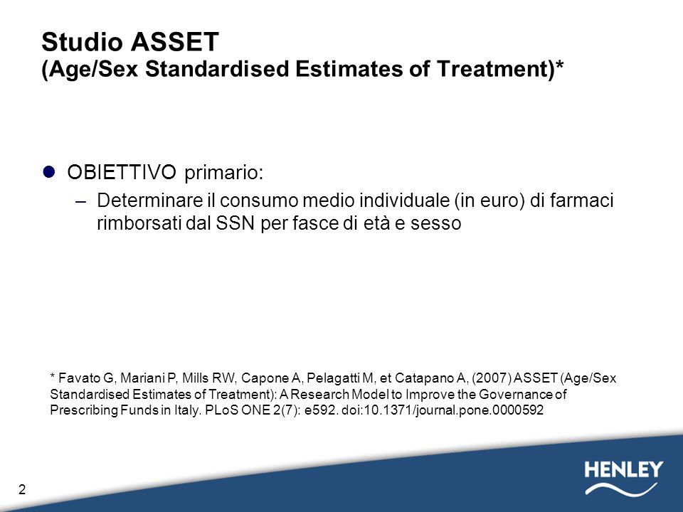 Studio ASSET (Age/Sex Standardised Estimates of Treatment)*