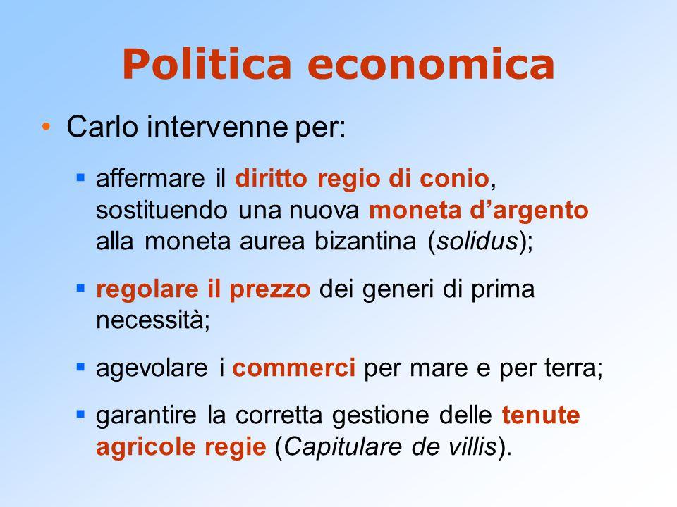 Politica economica Carlo intervenne per: