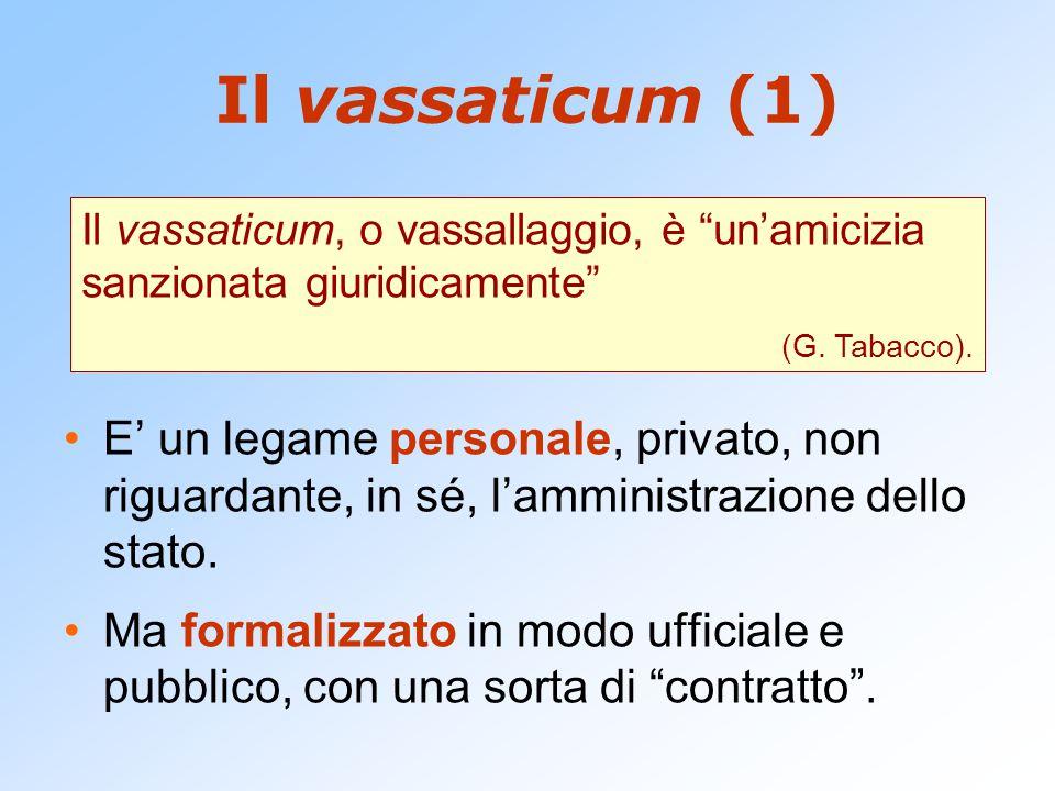 Il vassaticum (1) Il vassaticum, o vassallaggio, è un'amicizia sanzionata giuridicamente (G. Tabacco).