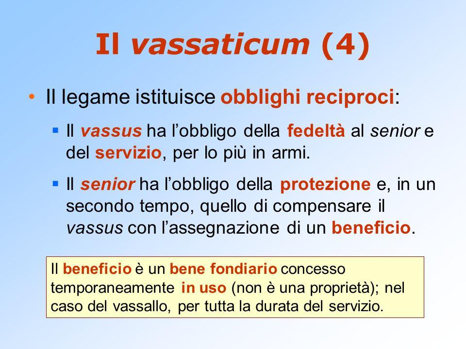 Il vassaticum (4) Il legame istituisce obblighi reciproci: