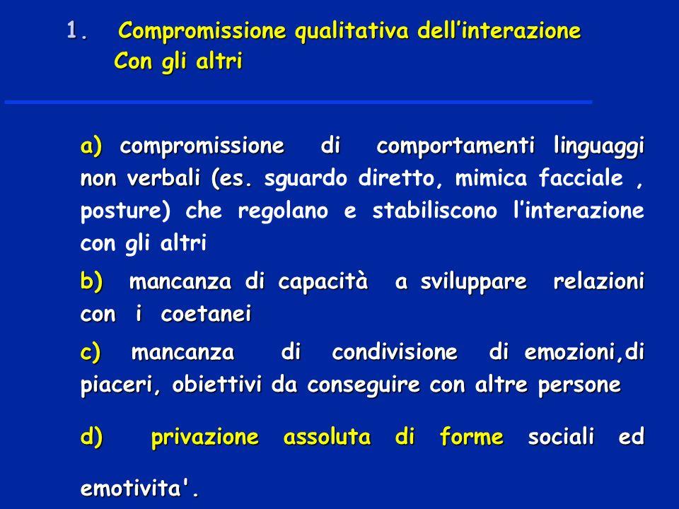 1. Compromissione qualitativa dell'interazione