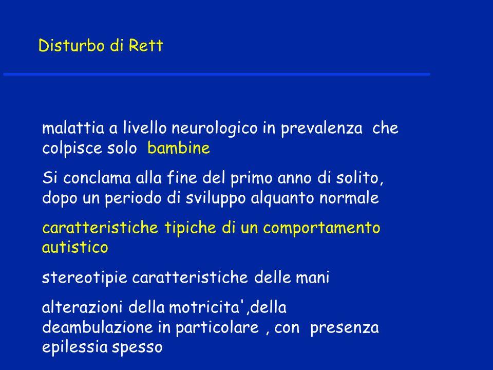 Disturbo di Rett malattia a livello neurologico in prevalenza che colpisce solo bambine.