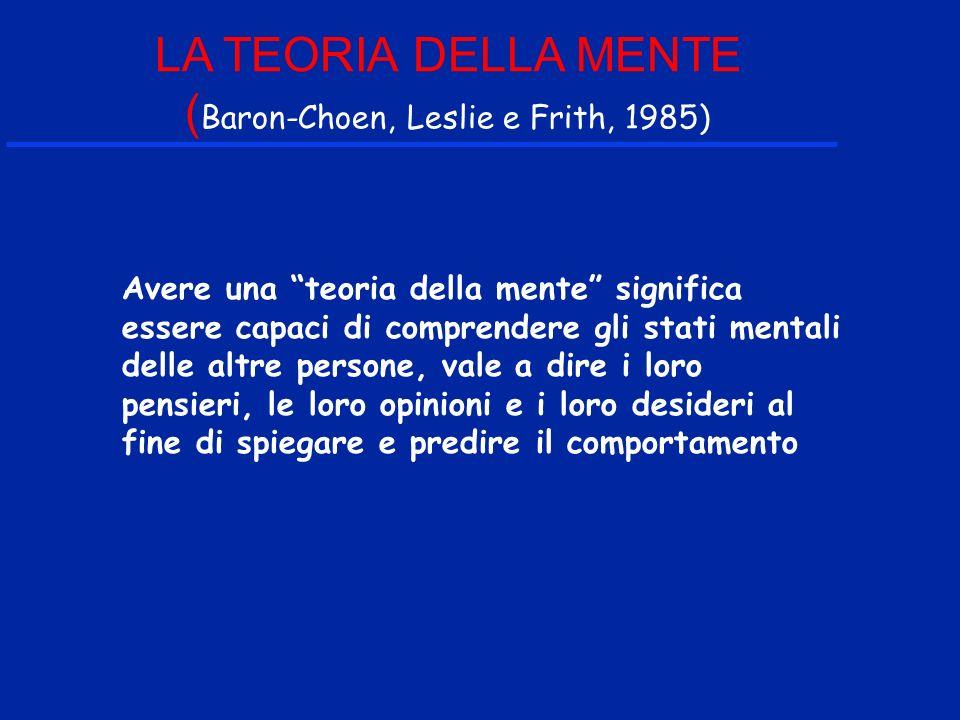 LA TEORIA DELLA MENTE (Baron-Choen, Leslie e Frith, 1985)