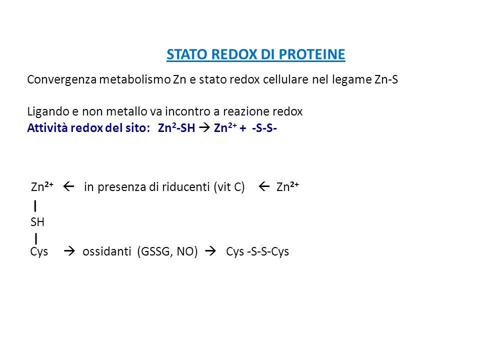 STATO REDOX DI PROTEINE
