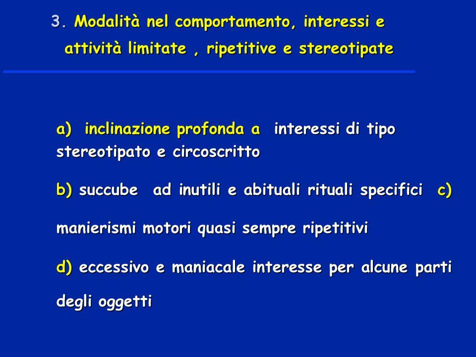 3. Modalità nel comportamento, interessi e