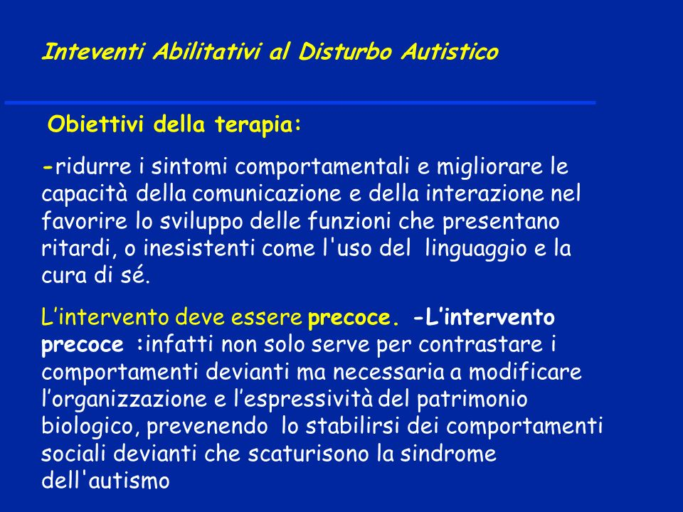 Inteventi Abilitativi al Disturbo Autistico