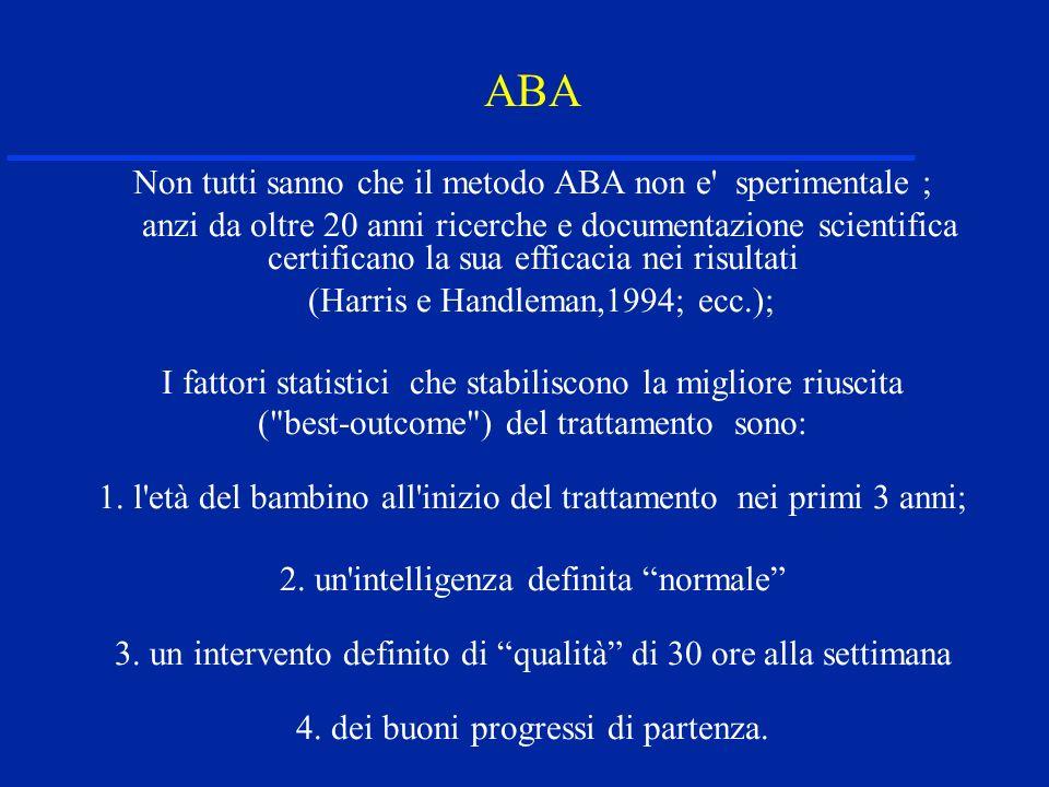 ABA Non tutti sanno che il metodo ABA non e sperimentale ;
