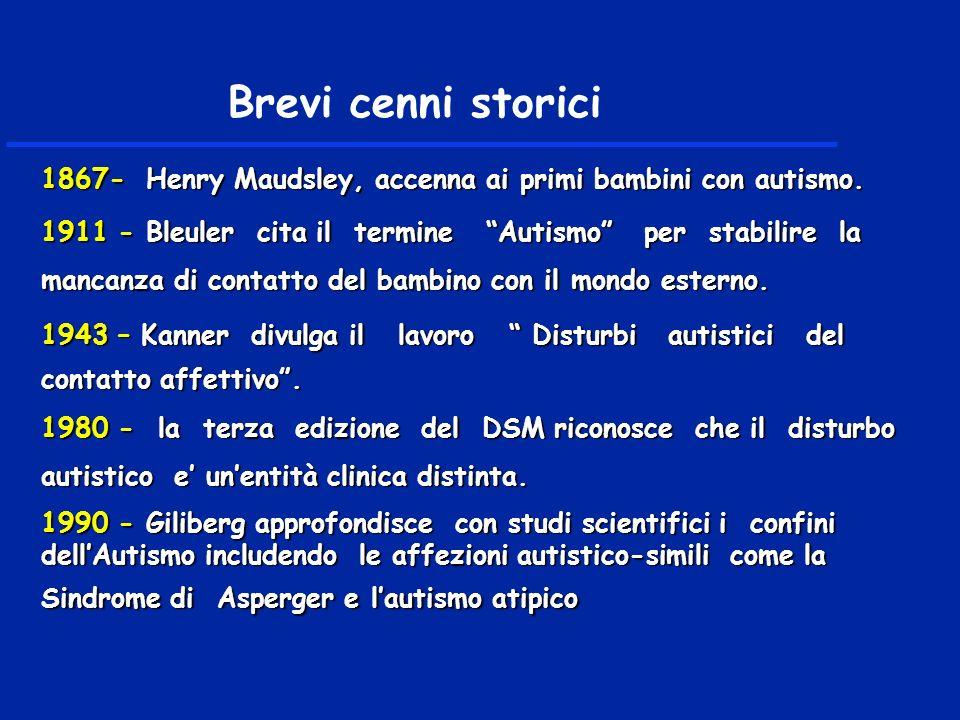 Brevi cenni storici 1867- Henry Maudsley, accenna ai primi bambini con autismo.
