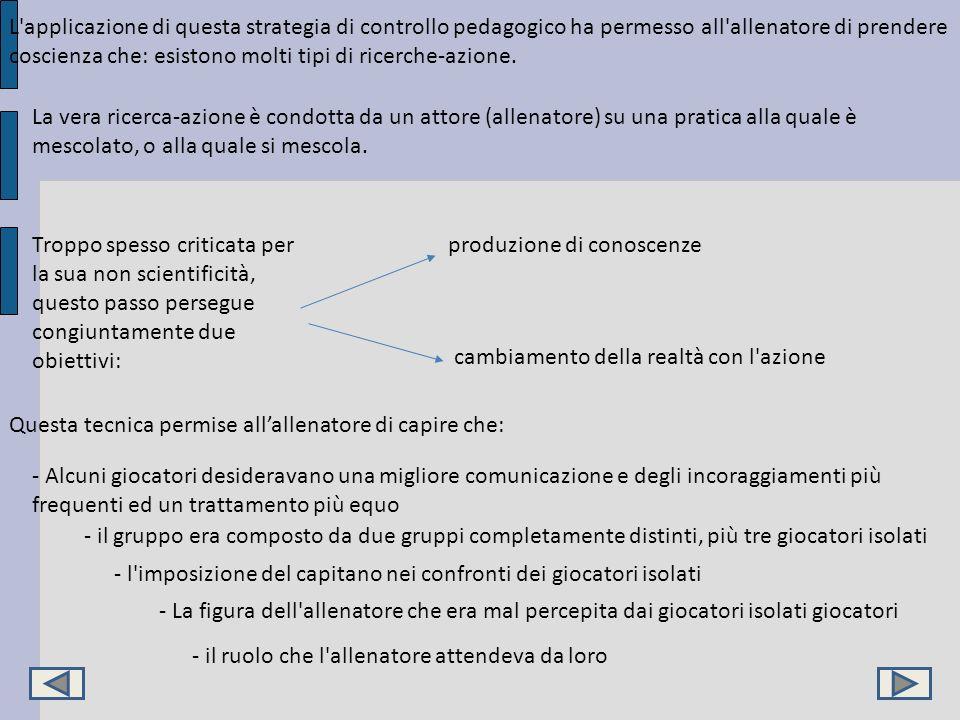 L applicazione di questa strategia di controllo pedagogico ha permesso all allenatore di prendere coscienza che: esistono molti tipi di ricerche-azione.
