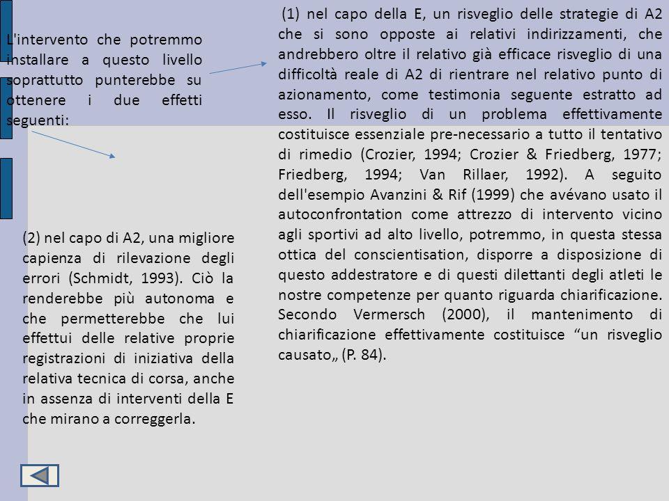 """(1) nel capo della E, un risveglio delle strategie di A2 che si sono opposte ai relativi indirizzamenti, che andrebbero oltre il relativo già efficace risveglio di una difficoltà reale di A2 di rientrare nel relativo punto di azionamento, come testimonia seguente estratto ad esso. Il risveglio di un problema effettivamente costituisce essenziale pre-necessario a tutto il tentativo di rimedio (Crozier, 1994; Crozier & Friedberg, 1977; Friedberg, 1994; Van Rillaer, 1992). A seguito dell esempio Avanzini & Rif (1999) che avévano usato il autoconfrontation come attrezzo di intervento vicino agli sportivi ad alto livello, potremmo, in questa stessa ottica del conscientisation, disporre a disposizione di questo addestratore e di questi dilettanti degli atleti le nostre competenze per quanto riguarda chiarificazione. Secondo Vermersch (2000), il mantenimento di chiarificazione effettivamente costituisce un risveglio causato"""" (P. 84)."""