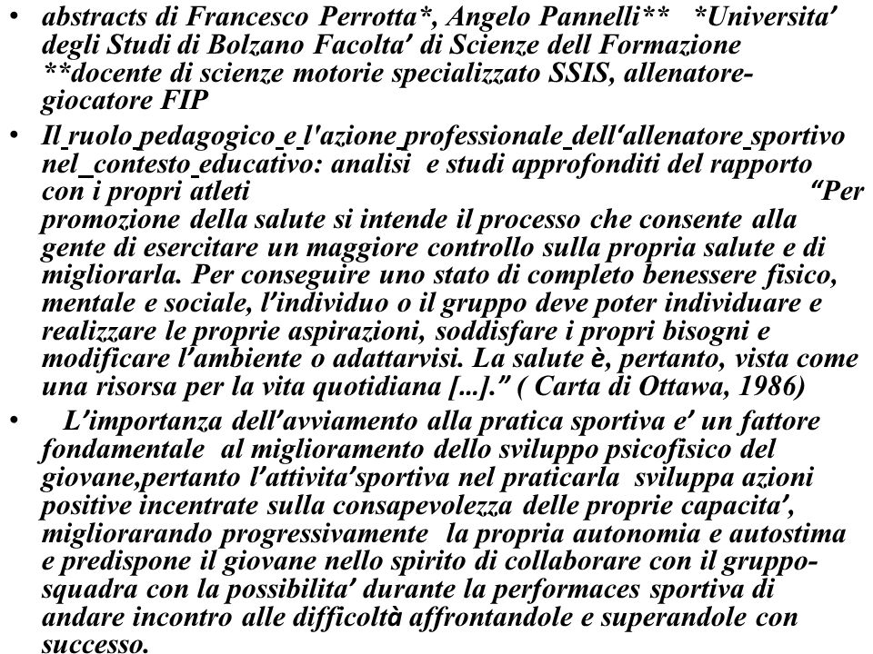 abstracts di Francesco Perrotta. , Angelo Pannelli