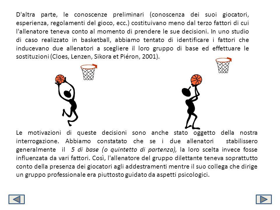 D altra parte, le conoscenze preliminari (conoscenza dei suoi giocatori, esperienza, regolamenti del gioco, ecc.) costituivano meno dal terzo fattori di cui l allenatore teneva conto al momento di prendere le sue decisioni. In uno studio di caso realizzato in basketball, abbiamo tentato di identificare i fattori che inducevano due allenatori a scegliere il loro gruppo di base ed effettuare le sostituzioni (Cloes, Lenzen, Sikora et Piéron, 2001).
