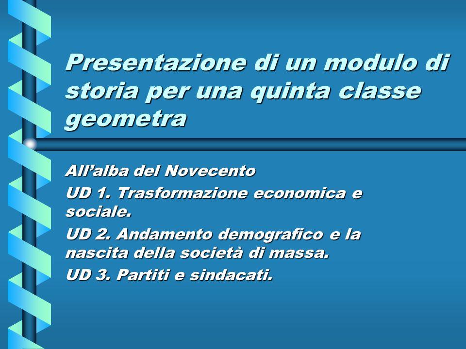 Presentazione di un modulo di storia per una quinta classe geometra