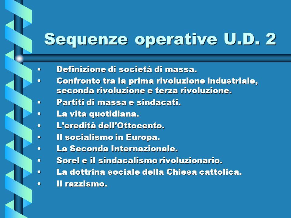 Sequenze operative U.D. 2 Definizione di società di massa.
