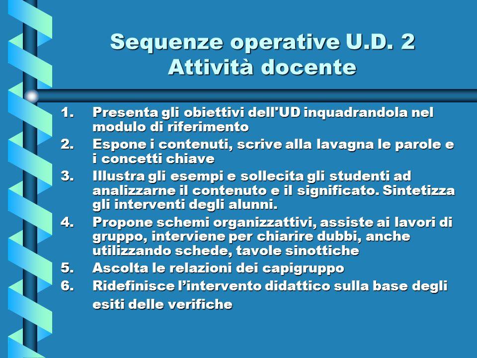 Sequenze operative U.D. 2 Attività docente