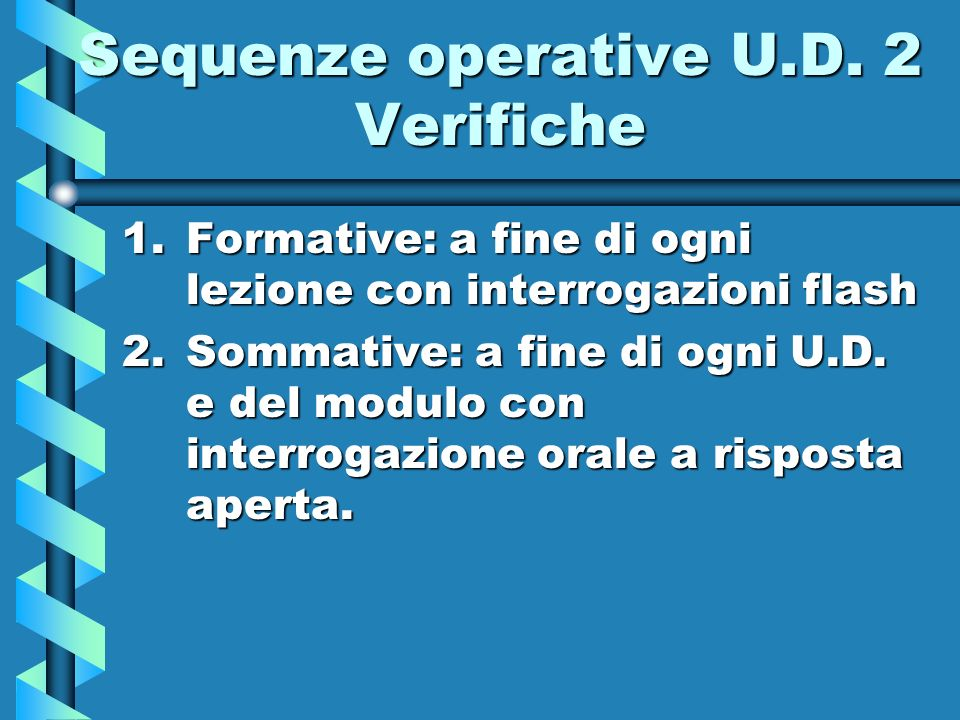 Sequenze operative U.D. 2 Verifiche