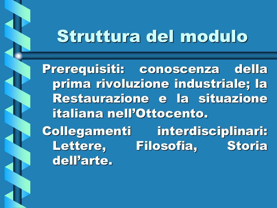 Struttura del moduloPrerequisiti: conoscenza della prima rivoluzione industriale; la Restaurazione e la situazione italiana nell'Ottocento.