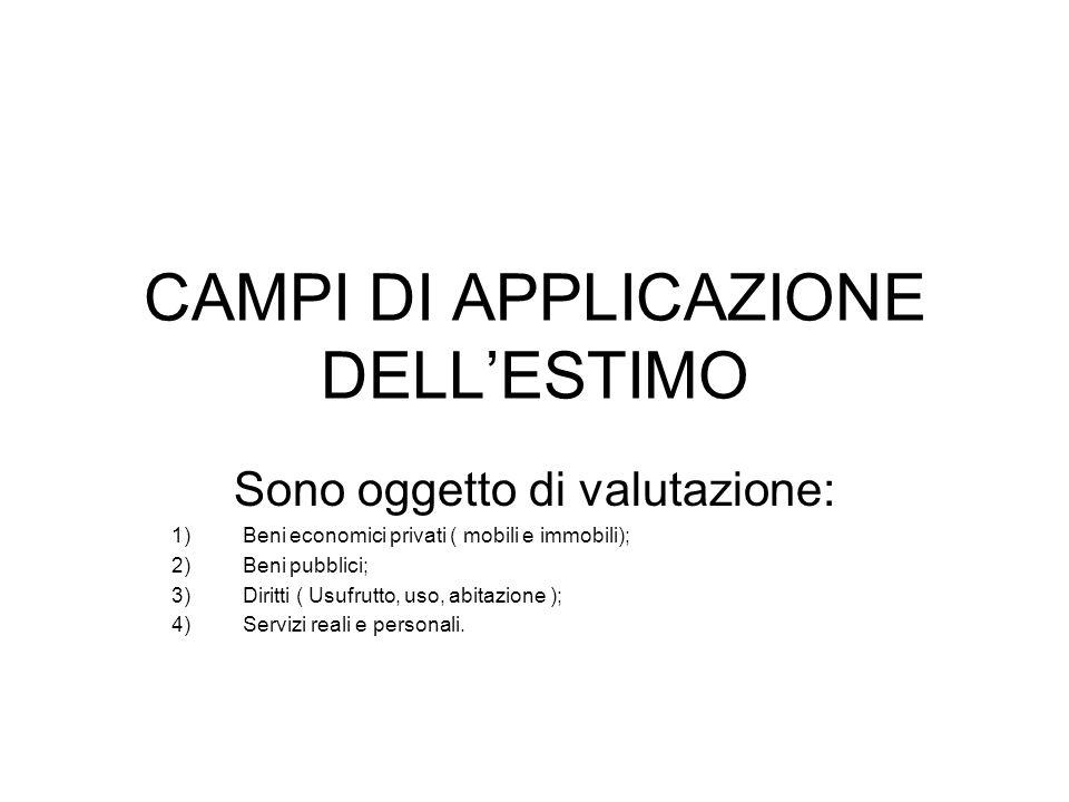 CAMPI DI APPLICAZIONE DELL'ESTIMO