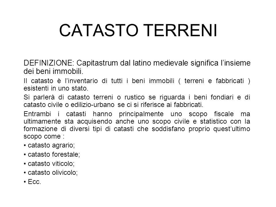 CATASTO TERRENI DEFINIZIONE: Capitastrum dal latino medievale significa l'insieme dei beni immobili.