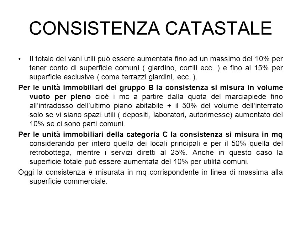 CONSISTENZA CATASTALE