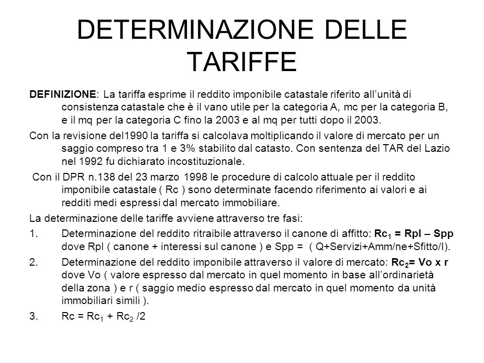 DETERMINAZIONE DELLE TARIFFE