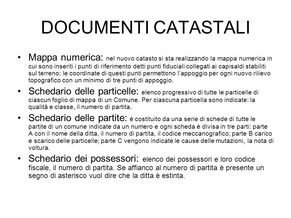 DOCUMENTI CATASTALI