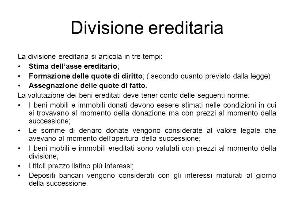 Divisione ereditaria La divisione ereditaria si articola in tre tempi:
