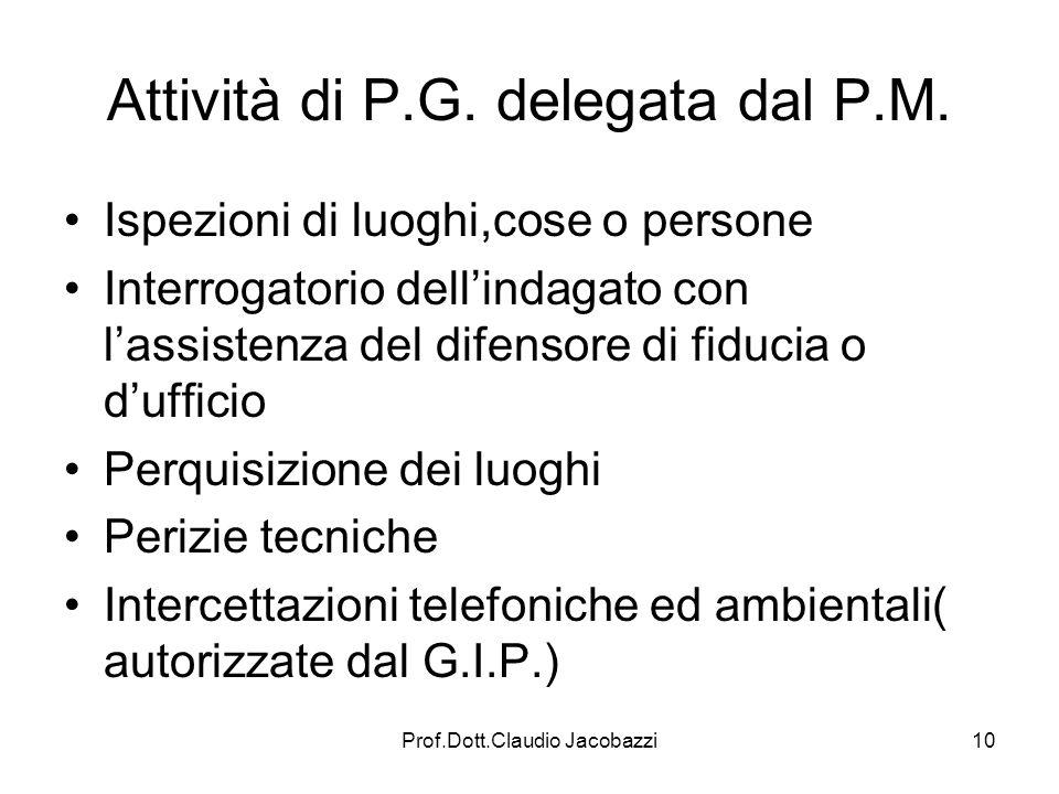 Attività di P.G. delegata dal P.M.