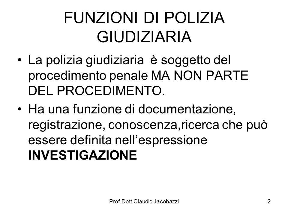FUNZIONI DI POLIZIA GIUDIZIARIA