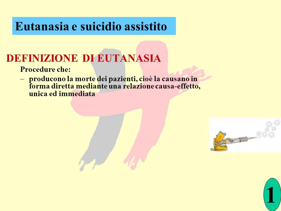 1 Eutanasia e suicidio assistito DEFINIZIONE DI EUTANASIA