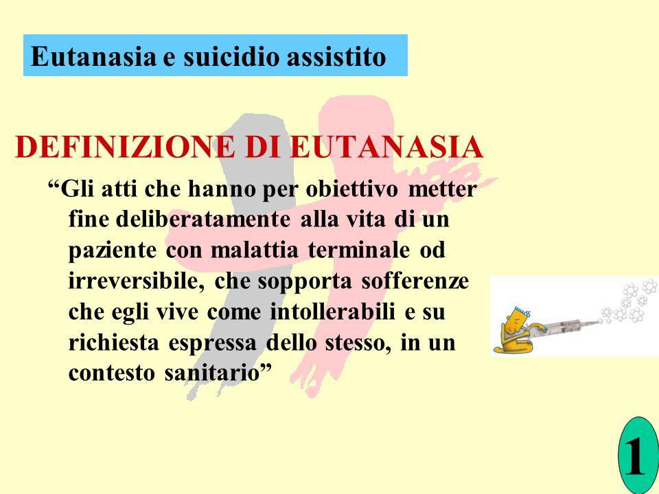1 DEFINIZIONE DI EUTANASIA Eutanasia e suicidio assistito