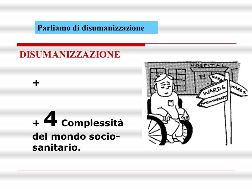 DISUMANIZZAZIONE + + 4 Complessità del mondo socio- sanitario.