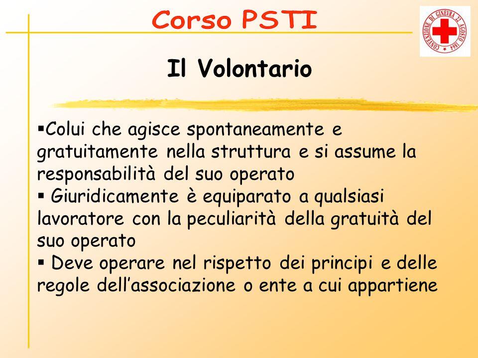 Corso PSTI Il Volontario. Colui che agisce spontaneamente e gratuitamente nella struttura e si assume la responsabilità del suo operato.