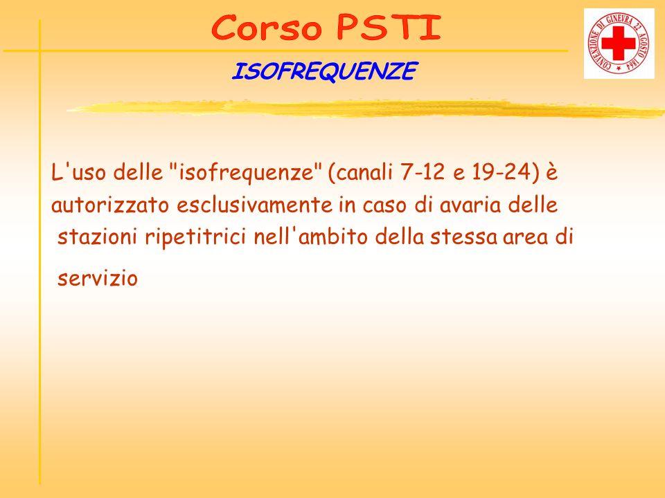 L uso delle isofrequenze (canali 7-12 e 19-24) è