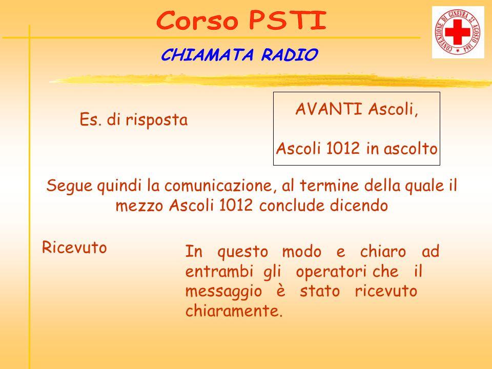 CHIAMATA RADIO AVANTI Ascoli, Es. di risposta Ascoli 1012 in ascolto