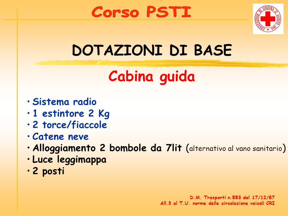 Ambulanza corso psti croce rossa italiana regione marche for Piani di cabina di base di base
